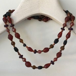 Vintage Long Glass Beaded Necklace